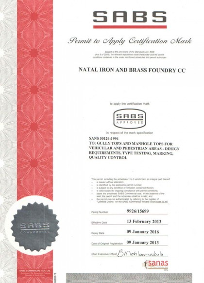 SABS Certification (SANS 50124-1994)