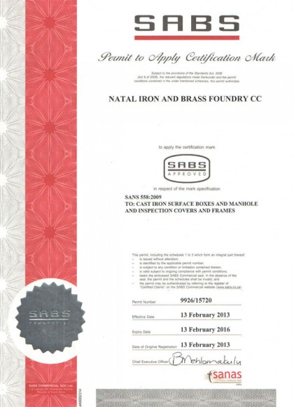 SABS Certification (SANS 558-2009)
