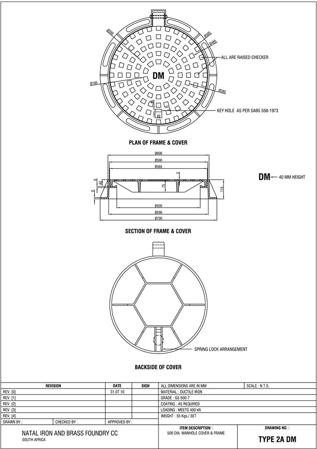 Circular Manhole Cover And Frame Type 2a And 2b